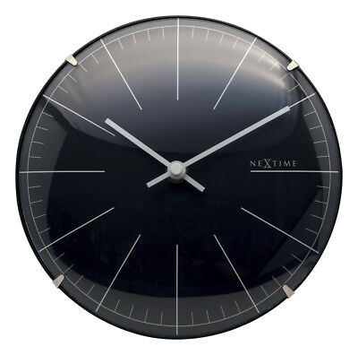 Nextime Wall Clock Big Stripe Mini Dome Table Ø20cm Quartz Watch Silent Black