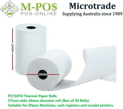 Thermal Paper Rolls 57X38mm Box of 50 Rolls for POS P5738TH
