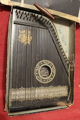 Antica Guitar Zither Anglo American Made In Saxony 41 Corde Fine '800 Primi '900