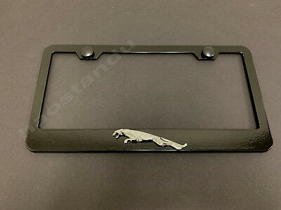 *JaguarLOGO* BLACK Metal License Plate Frame Tag Holder with Caps