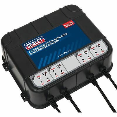 Sealey 8AMP (4 x 2AMP) 6/12V Four Bank Auto Maintenance Charger