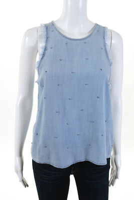 cee3ed69 Bella Dahl Womens Tank Top Size Small Beaded Light Wash Frayed $94 New