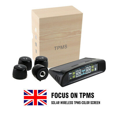 1 Set Wireless TPMS Solar Power Tyre Tire Pressure Monitoring System 433.92MHZ