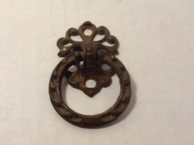 Antique Victorian Drawer Pull Cabinet Ring Pull Solid Cast Brass 1 1/4""
