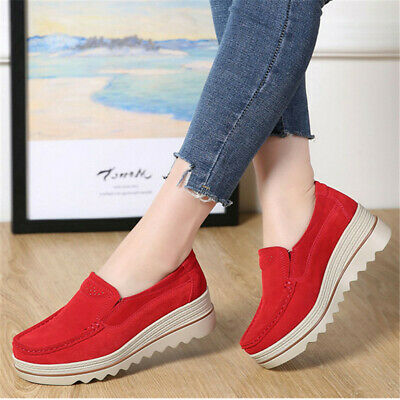 AU Women Wedge Breathable Platform Creepers Slip On Loafers Suede Casual Shoes