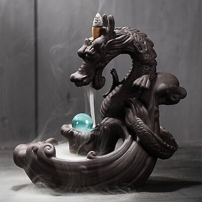 """New Ceramic Backflow Incense And Incense Stick Holder """"Dragon Lotus Pond"""" Gifts"""