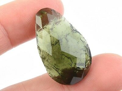MOLDAVITE CABOCHON FACETED/NATURAL 4.80g #BRUS1830