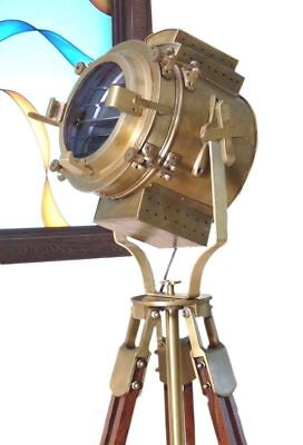 Antique Brass-Floor Lamp Spot Light with Brown Tripod Free Shipping