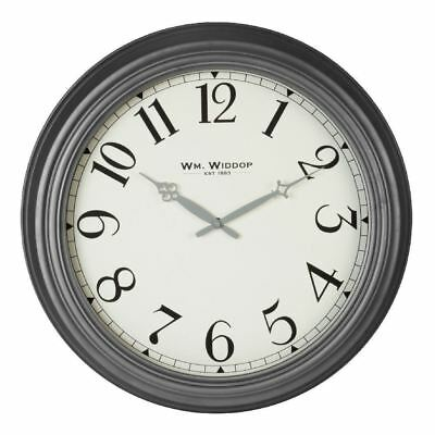 Hometime Large Grey Metal Wall Clock White Arabic Dial 50cm Diameter