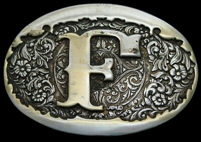 OC02159 VINTAGE 1980s INITIAL **F** FLORAL WESTERN 24K GOLD PLATED BUCKLE