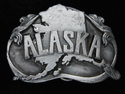 Qe15153 Vintage 1984 **Alaska** State Commemorative Pewter Belt Buckle