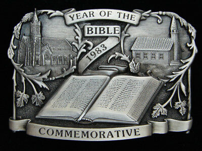 Qd13153 *Nos* Vintage 1983 **Year Of The Bible** Commemorative Religious Buckle