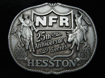 Qi05120 Vintage 1983 **Hesston Nfr 25Th Anniversary Series** Rodeo Buckle