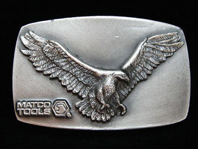 OD13120 VINTAGE 1970s **MATCO TOOLS (BALD EAGLE)** PEWTER GREAT AMERICAN BUCKLE