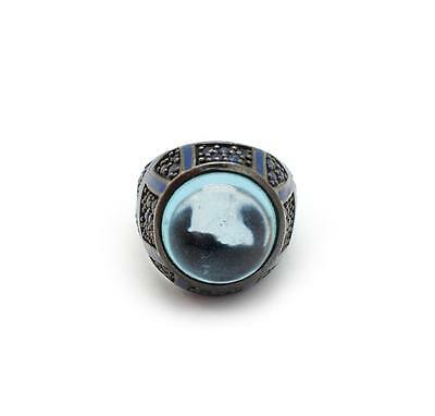 Mens Sterling Silver and Blue Cabochon Quartz Ring Size 7.25