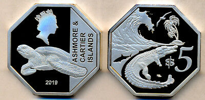 ASHMORE & CARTIER ISLANDS $5 Cu Ni Octogonal, Crocodile, unusual coinage