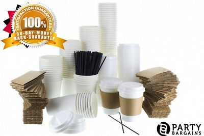 {120 COUNT} JUMBO Pack White Coffee Cups | Insulated Disposable Hot with...