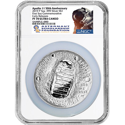 2019-P Proof $1 Apollo 11 50th Ann 5oz. Silver Dollar NGC PF70UC ASF ER Label