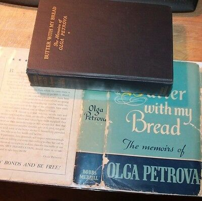 BUTTER WITH MY BREAD OLGA PETROVA signed  silent actress movie star - jacket 1st