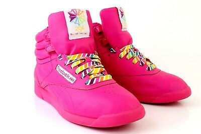 d31ac66e36198 Reebok 25th Anniversary Freestyle Classic High Top Reign Bow Hot Pink Size  8.5