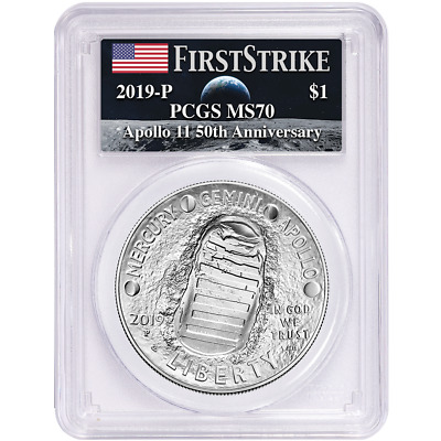 2019-P UNC $1 Apollo 11 50th Ann Silver Dollar PCGS MS70 FS Apollo Label