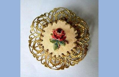 antique FILIGREE BRASS PETIT POINT BROOCH victorian jewelry