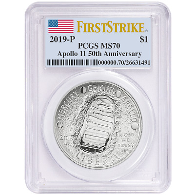 2019-P UNC $1 Apollo 11 50th Ann Silver Dollar PCGS MS70 FS Flag Label