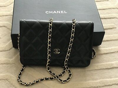 90cbb25d7ca2 Chanel Wallet on Chain Black Caviar with Gold Hardware - Excellent  Condition!