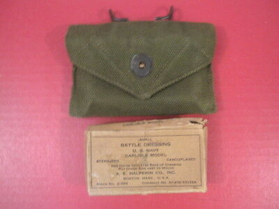 WWII US Army M1942 First Aid Kit Canvas Pouch w/Carlisle Bandage - Dated 1944 #1