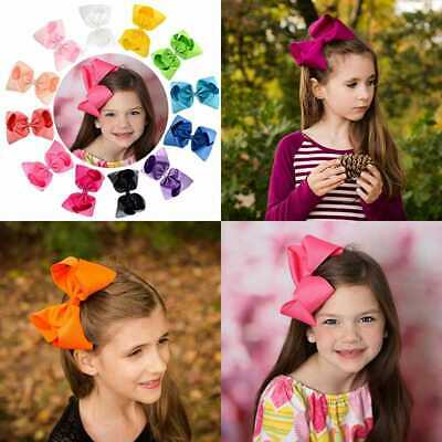 "12Pcs Hair Bows For Girls 6"" Big Boutique Bow Alligator Clips Grosgrain Ribbon A"