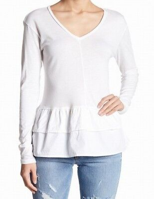 05788a145eab7e Abound NEW White V-Neck Peplum Women s Size XS Mixed-Media Knit Top Blouse