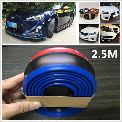 Universal 6.5cm*2.5m Car Front Bumper Protector Rubber Skirts Strip Lower Lips