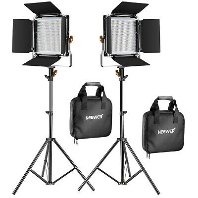 Neewer 2pcs Bi-color Dimmable 480 LED Video Light wirh Barndoor and Stand Kit