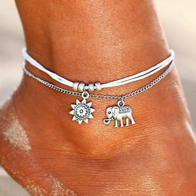 3pc Boho Elephant Sun Ankle Anklet Bracelet Foot Chain Beach Ladies Jewelry Gift
