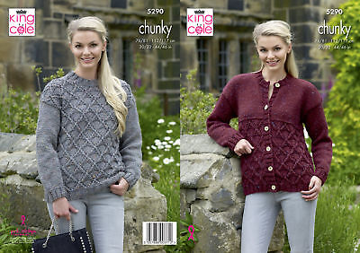 KNITTING PATTERN Ladies Long Sleeve Cable Cardigan /&Jumper Chunky King Cole 4722
