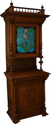 Antique Flemish Oak Buffet/hutch  Blue/green/pink Floral Stained Glass  J