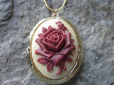 Burgundy, Maroon Rose Cameo Gold Plated Locket - Quality - Unique - Victorian