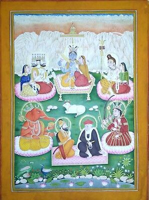 Indian Lord At Himalaya Handmade Miniature Vintage Religious Painting