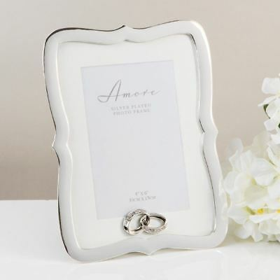 "Amore Silver Plated Scalloped Edge Photo Frame with Crystal Set Rings 4"" x 6"""