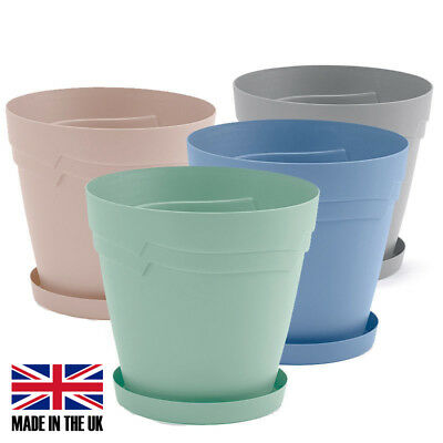 28cm Round Whitefurze Plastic Self Watering Plant Pot with FREE Saucer Tray