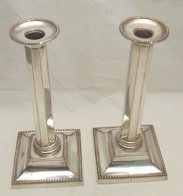 Fine Pair of Old Sheffield Plate Column Candlesticks c1820