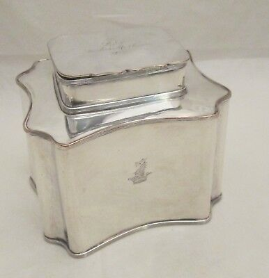 Elegant 19th Century Silver Plated Tea Caddy with Dragon Crest