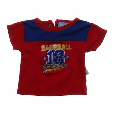 Duck Duck Goose Baby Boys Embroidered Baseball Shirt, size NB,  red,  cotton