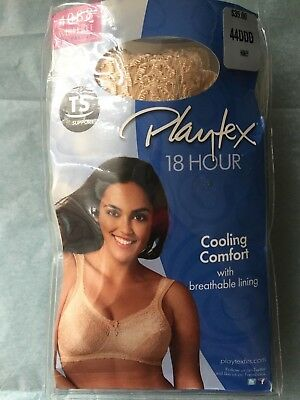 092b60915a Playtex 18 Hour Comfort Lace Wirefree Bra - 4088 Honey Size 44DDD NEW IN  PACKAGE