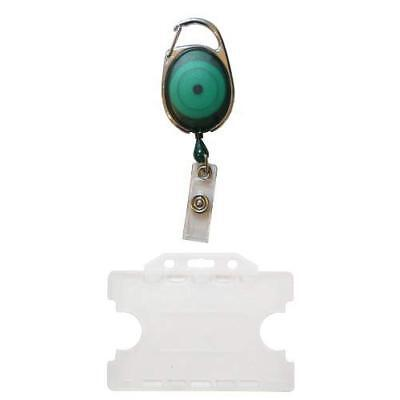 Customcard Retractable Badge Reel with Double Sided Opaque ID Card Holder - Gree