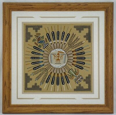 Authentic Navajo Sand Painting By Gracie Dick Native American Framed