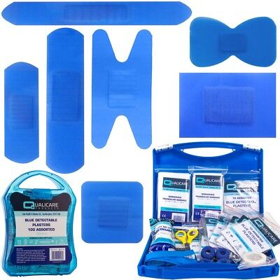 BLUE DETECTABLE PLASTERS Assorted Food Safety Catering Kitchen First Aid Box Set