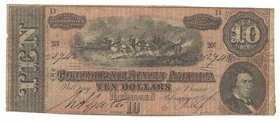 Confederate States Of America 1864 $10 Note From Richmond  Signed Note  Nice!