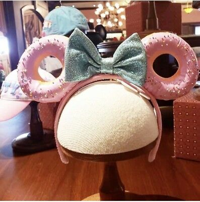 2019 New Disney Parks Exclusive Minnie Mickey Ears headband Pink w/blue Donut