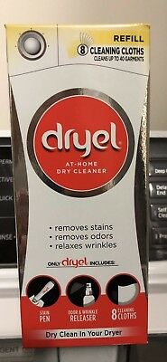 Lot of 4 Dryel At-Home Dry Cleaner Refill, Cleans 8 Loads, Up To 40 Garments